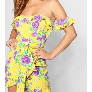 Floral Bardot dress tie waist mini dress